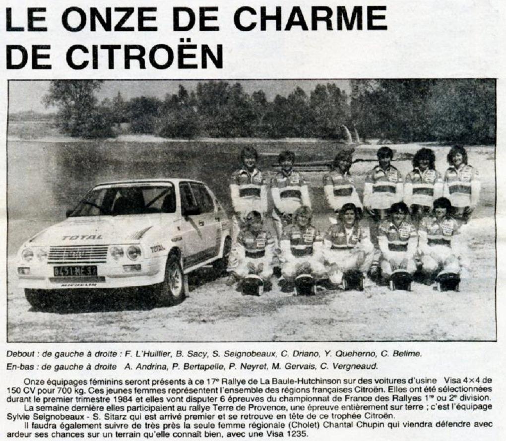 Coupure-presse - engagées Trophée-Visa-féminin - 1984 - Rallye-de-La-Baule