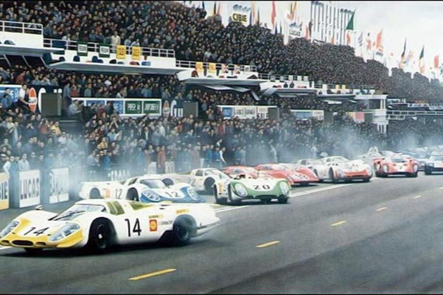 Porsche-917-14 - Stommelen-Ahrens - 1969 - Départ-24-Heures-du-Mans - Copyright-inconnu
