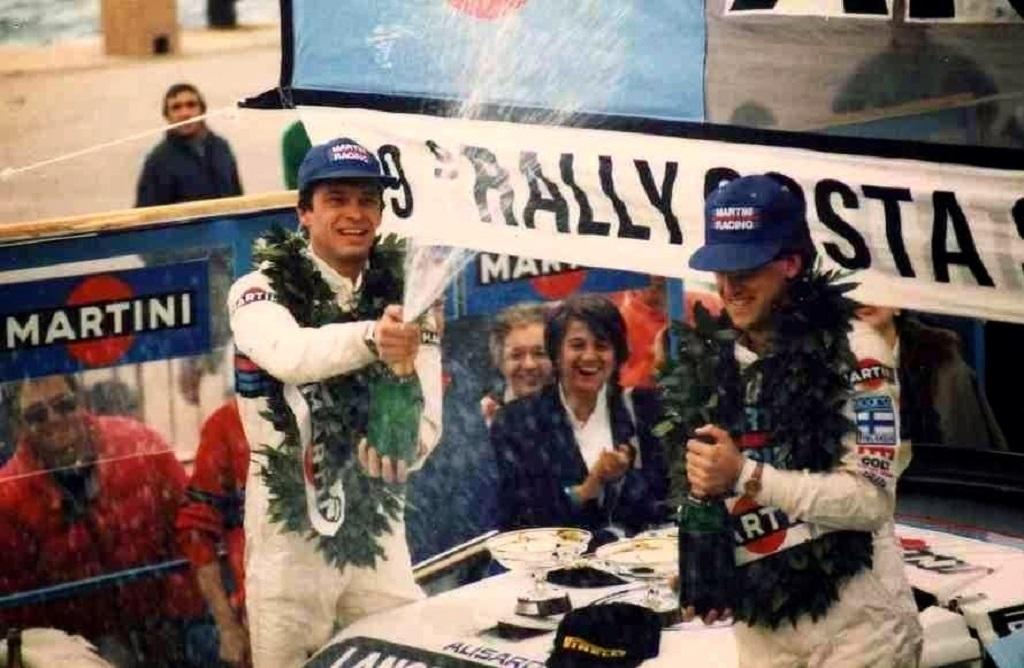 Sergio-Cresto (à gauche) - Henri-Toivonen - Lancia-Delta-S4 - 1986 - Arrivée-Rallye-Costa-Smeralda