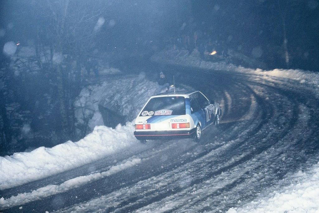 Warmbold-Feltz - Mazda-323-Turbo - 1984 -Rallye-Monte-Carlo - Photo-Thierry-Le-Bras