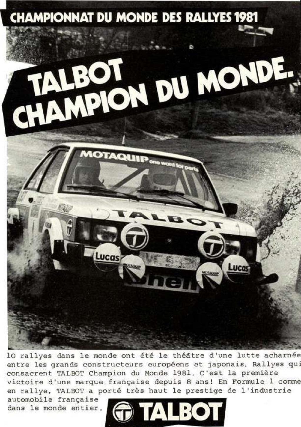 publicité-Talbot-Sunbeam-Lotus - 1981